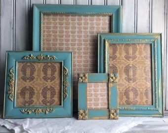 Turquoise Blue Picture Frame Set, Blue With Gold Accents Frames, Shabby Regency Decor, Ornate Painted Frames, 8x10, 5x6, 2x3