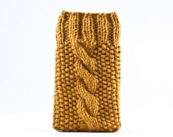 Mustard iPhone Case, Knitted Samsung Galaxy Sleeve, iPhone 6S Case, Gifts for Women, Gray iPhone sleeve, Mom Gift, Galaxy s7 case