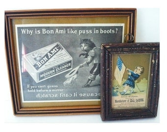 Antique Advertising Prints Framed Girl Carrying American Flag and Puss and Boots Vintage Wall Decor