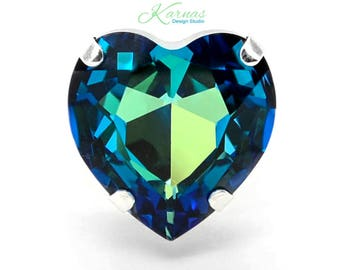 OCEAN HEART 28mm Crystal Pear Adjustable Ring Swarovski Elements *Sterling/Shiny Finish *Karnas Design Studio *Free Shipping*
