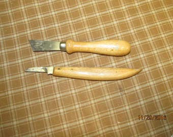Set of 2 Wood Handled Knife Lino Cutters Craft Knives Bracht Germany Carving Tools