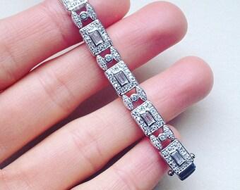 Sterling Silver Bracelet With Cubic Zirconia, Bridal Jewelry, Wedding Bracelet