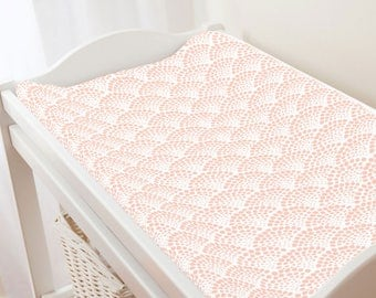 Carousel Designs Peach Scallop Dot Changing Pad Cover