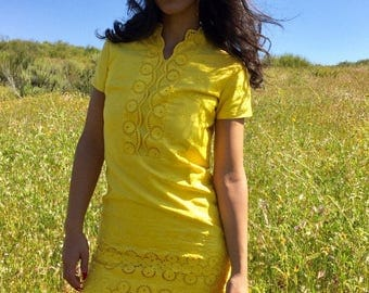 1960s Mellow Yellow Mini Dress