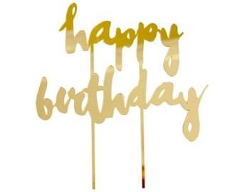 Happy Birthday Gold Mirrored Cake Topper