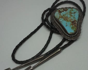 Bolo tie Vintage, sterling silver, blue-green spider turquoise
