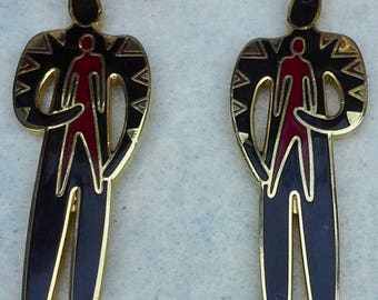 "Vintage 1980's by Laurel Burch dangle pierced earrings ""shaman"" enamel and gold tone"
