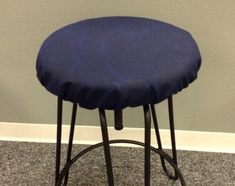 Rustic Waxed Dark Denim or Outdoor elasticized round barstool cover, weathered dark navy blue kitchen stool seat cover, water resistant