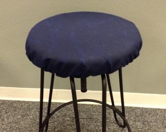 Rustic Waxed Dark Denim or Outdoor elasticized round barstool cover weathered dark navy blue kitchen & Saddle stool seat cushion w/ ties rectangular or square islam-shia.org