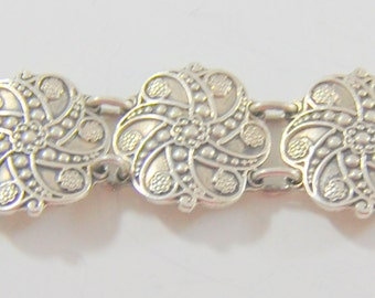 Vintage Taxco Sterling Silver Bracelet Heavy Pinwheel Spiral Links Signed 925 54+ Grams Substantial