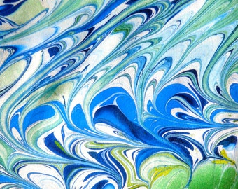 Marbled blue, green, and white silk scarf
