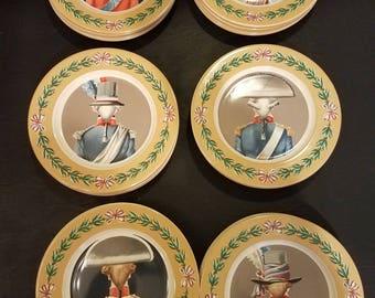 Set of six Gien French Revolution plates