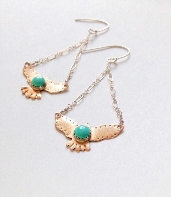 hawk earrings bird jewelry turquoise earring boho jewelry boho