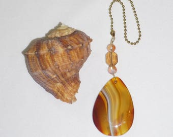 Champagne Crystal, Amber Agate, Natural Gemstone, Ceiling Fan Pull,  Handcrafted Home Decor, Birthday Gift, Coupon Code, Free Shipping