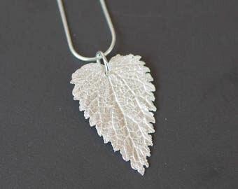 Silver leaf pendant, fine silver, tree, nature
