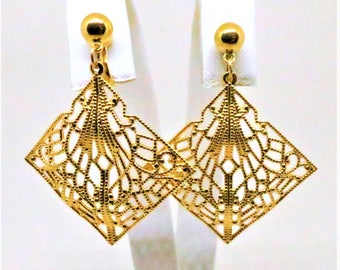 Filigree Earrings - Vintage, Trifari Signed, Gold Tone, Lacy Filigree Dangles, Clip on