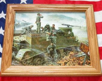 Framed Korean War Painting, Mort Kunstler, 300th Artillery at Soyang, Korea 1951