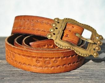 Leather belt, leather belt men, tooled leather belt, vintage leather belt, mens leather belt, brass buckle leather belt