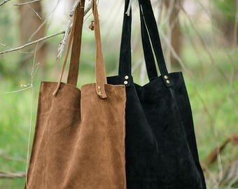 Suede bag,Brown suede bag,Black suede bag,Suede leather tote,Suede tote bag