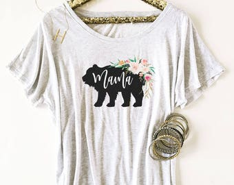 Rustic Baby Shower Shirt-Gift For New Mom-Mama Bear Shirt