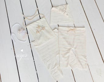 Baby newborn boy girl twin set, trousers, hat, romper, tieback, cream, stripes, embroidered, floral, Photo prop RTS