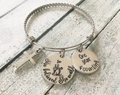 One year sober - Sobriety anniversary - Hand stamped bracelet - Sobriety jewelry - she believed she could so she did - Anniversary gift