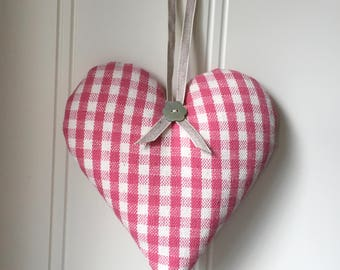 Susie Watson heart in Pink Gingham fabric