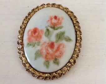 Vintage Brooch.....Porcelain and brass....Handpainted