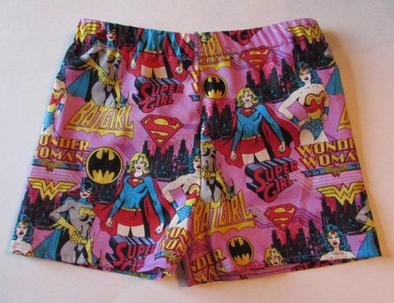 Girls super hero sleep shorts,mommy and me sleep shorts,girls super hero party,toddler sleep shorts, women sleep shorts, birthday gift