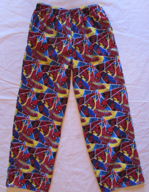 Spiderman pajamas/pockets/spiderman bottoms/ flannel spiderman pajama bottoms / Kids, women, and men / warm/ comfortable/ size 1T to xxl men