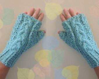 Aqua Green Fingerless Gloves 100% Cashmere Warm Cozy Hand Warmers Stocking Stuffers Elegant Design Women Gloves