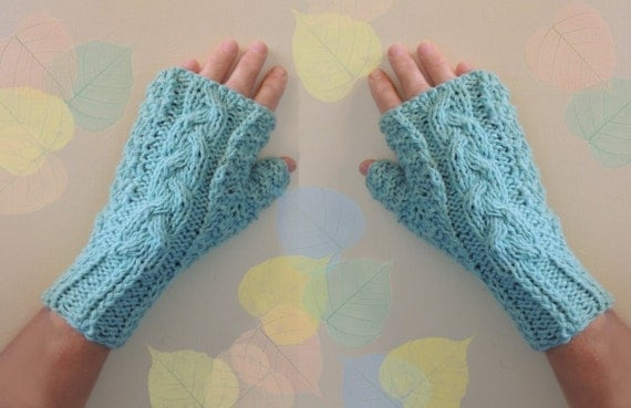 Aqua Green Fingerless Gloves 100% Cashmere Warm Cozy Hand Warmers Stocking Stuffers Elegant Design Women Gloves