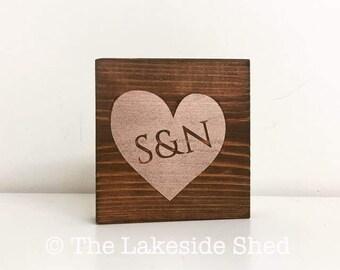 Heart | Initials | New Baby | Newborn | Shelf Sitter | Pallet Sign | Freestanding | Chunky | Wooden | Sign | Rustic | Nursery Decor |Wedding