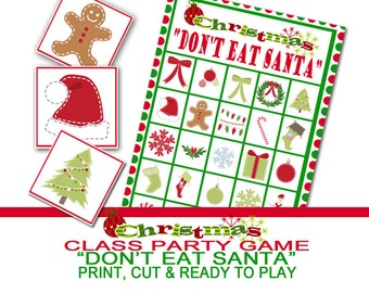 Christmas Party Game, Don't Eat Santa, Group Game, Class Christmas Print, Class Party Game, Christmas Preschool Game, Winter Class Game