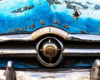 Old Car photo, blue, aqua, Vintage Ford, Americana wall art, retro car photo, Route 66, vintage car decor, fine art photography print