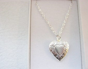 Girls Heart Locket Necklace on Silver Plated Chain, Girls Locket Pendant, Kids Necklaces, Childrens Jewellery, Girls Stocking Filler Stuffer