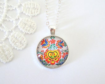 Polish Folk Art Necklace, Embroidery Necklace, Floral Pendant, Colourful Bohemian Necklace, Gift for Her