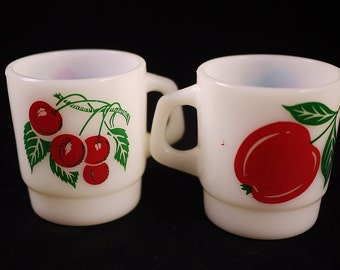 Vintage Pair of Termocrisa Milk Glass Cherry and Apple Cups