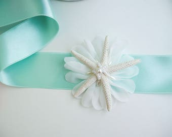 Aqua Mint Bridal Sash, Starfish Sash, Shell Bridal Sash, Beach wedding, Seashell sash, Wedding dress beach, aqua sash, aqua wedding