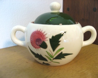 Vintage Stangl pottery thistle pattern. Sugar bowl with lid. Vintage red ware collectible replacement china. Mid century kitchen.