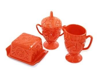 Bright Orange Plastic Pinwheel Butter Dish, Sugar Bowl & Creamer Melmac Style Serving Set Glamping Camper Dishes