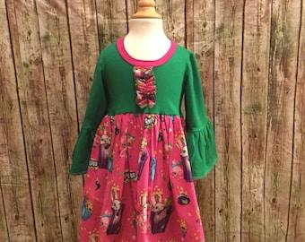 Shopkin girl dress,shopkin custom, shopkin logo dress, shopkin knit and cotton dress, shopkin sizes 2-12y,shopkin multi color dress, shopkin