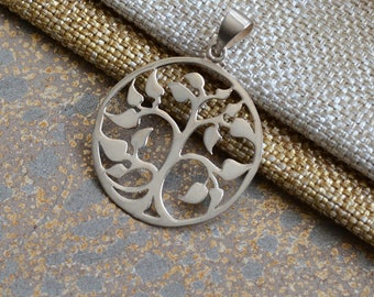 Round Sterling Silver Tree of Life Pendant,33mm Tree of Life,Round Tree of Life,Sterling Silver,8mm Teardrop Bail,Silver Pendant,One,BS15316