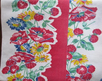 Vintage Brightly Colored Kitchen Linen/Flowered Kitchen Towel/Red Trimmed Kitchen Towel/Dish Towel/Farmhouse Kitchen/Vintage Kitchen