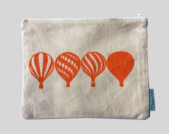 Pouch; Hot Air Balloons in Orange