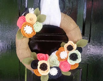 Summer Flower Burlap Wreath, Felt Flower Wreath, Summer Wreath, Summer Decor, Housewarming Gift