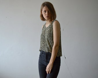 vintage crincled fabric cheetah print tank top in beige black and olive large size XL