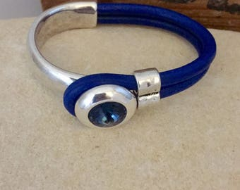 Swarovski blue silver leather bracelet