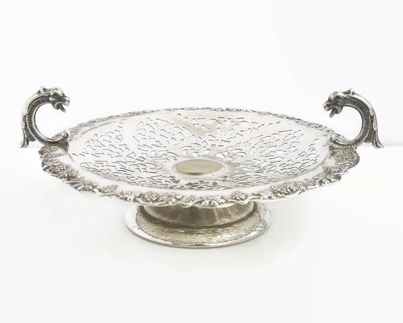 Vintage silver plated cake stand, border of grapes and leaves, dragon head handles, open cut work, Renown brand, Australia, 1950s