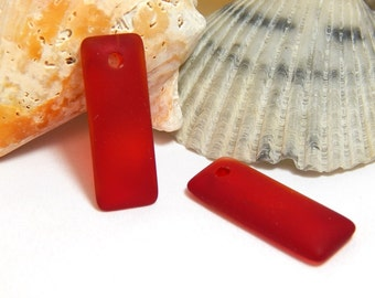 2 Red Sea Glass Pendants, Red Pendants, Sea Glass Charms, Red Matte Pendant, Rectangle Pendant, Ocean Pendant, Beach Pendants, D-E54